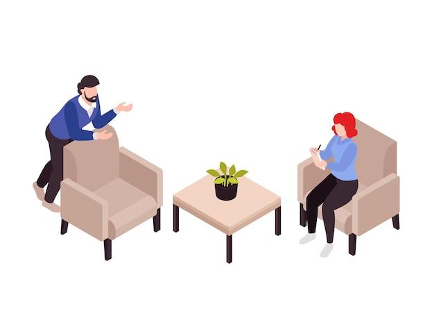 Illustrazione isometrica di psicologia terapia
