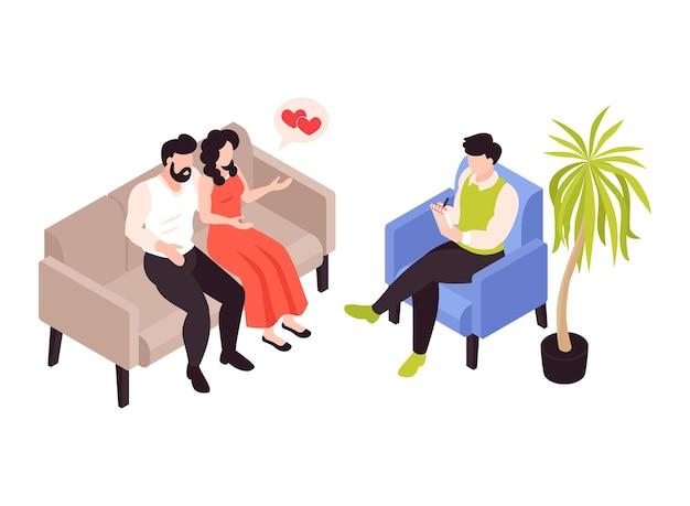 Terapia psicologica con illustrazione isometrica di relazioni di coppia