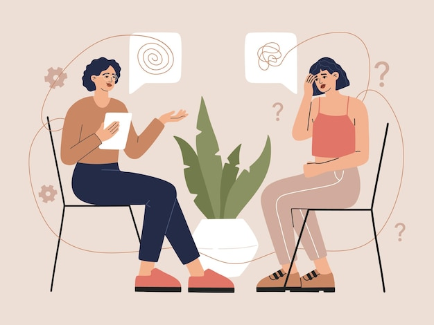 Concetto di consulenza psicoterapeutica. donna con depressione seduta e consultazione