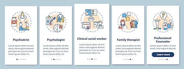 Lavori di psicoterapia onboarding schermata della pagina dell'app mobile con concetti