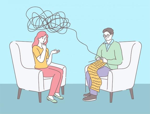 Psicoterapia, psicologa dell'uomo con metafora cerebrale aggrovigliata e districa