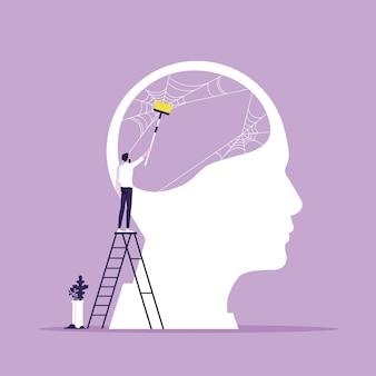 Metafora della psicoterapia mente pulita o concetto di vettore di testa fresca