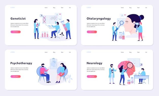 Concetto di banner web psicoterapia e neurologia. idea di cure mediche in ospedale. illustrazione