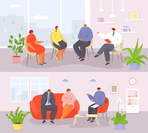 Gruppo e coppie di sessione della gente di psicoterapia con le insegne dell'illustrazione dello psicologo.