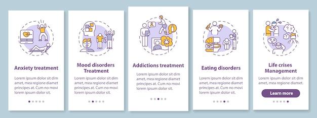 Attività di psicoterapia onboarding schermata della pagina dell'app mobile con concetti