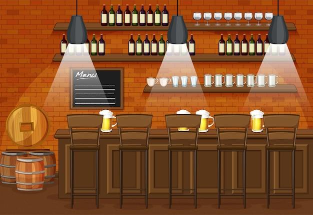 Scena dell'illustrazione del ristorante e del pub