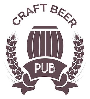 Pub con emblema della birra artigianale, etichetta sagoma o logo per il pacchetto di birra artigianale. produzione e vendita di bevande alcoliche, botti di legno e ghirlande di grano. vettore in stile piatto illustrazione