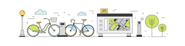 Area pubblica di bike sharing con possibilità di noleggiare biciclette parcheggiate presso le stazioni di attracco su strada cittadina, terminali di pagamento, stand per mappe. servizio di noleggio. illustrazione colorata in stile arte moderna linea.