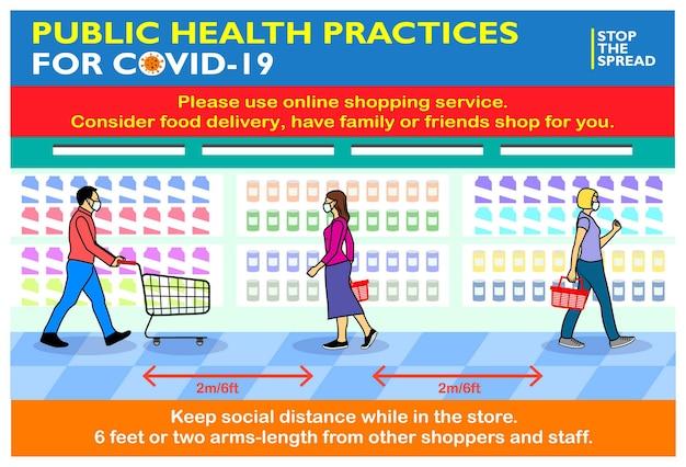 Pratiche di salute pubblica per covid19 o protocolli di salute e sicurezza o migliori pratiche alimentari al dettaglio