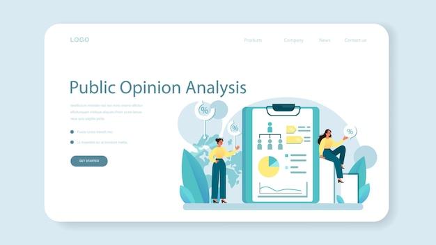 Banner web o pagina di destinazione dell'opinione pubblica. idea di pr attraverso i mass media per pubblicizzare il tuo brand. gestione e strategia di marketing. illustrazione piatta