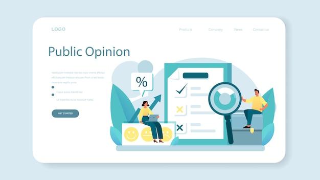 Banner web o pagina di destinazione dell'opinione pubblica. idea di pr attraverso i mass media