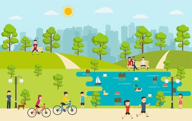 Parco pubblico con persone che si rilassano nella natura. campeggio nel parco.