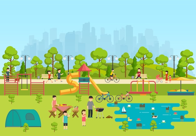 Parco pubblico con parco giochi e lago, campeggio in parco.