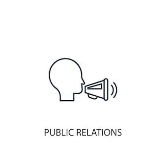 Icona della linea del concetto di pubbliche relazioni. illustrazione semplice dell'elemento. disegno di simbolo di contorno del concetto di pubbliche relazioni. può essere utilizzato per ui/ux mobile e web