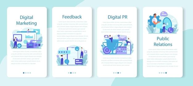 Set di banner per applicazioni mobili di pubbliche relazioni
