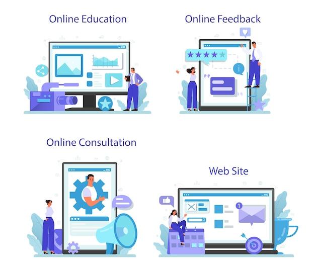 Servizio online di pubbliche relazioni o set di piattaforme
