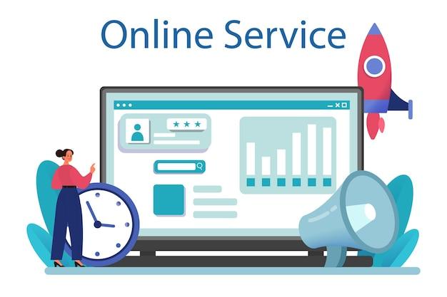 Servizio o piattaforma online di strategia di pubbliche relazioni. pubblicità del marchio commerciale, costruzione di relazioni con il cliente. illustrazione vettoriale piatta