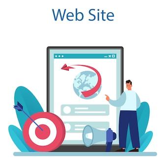 Servizio o piattaforma online di strategia di pubbliche relazioni. sito web. illustrazione vettoriale piatta