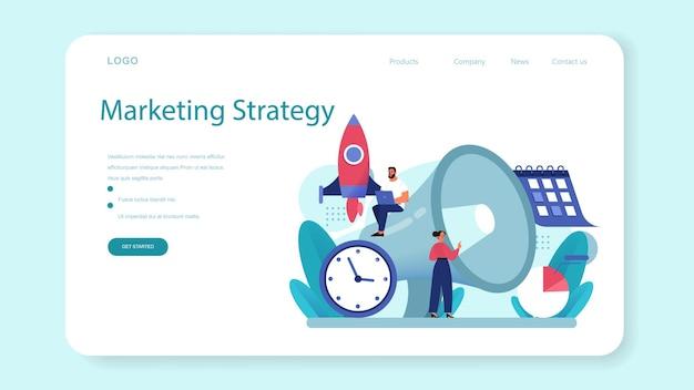Banner web di strategia di pubbliche relazioni o pagina di destinazione. marchio commerciale