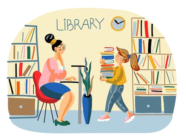 Illustrazione della biblioteca pubblica, scolastica con bibliotecario e studentessa con una pila di libri