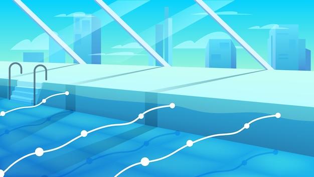 Piscina pubblica vista interna. piscina sportiva con acqua blu pulita con file con divisori. piscina del complesso sportivo.