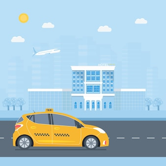 Concetto di servizio di taxi pubblico.