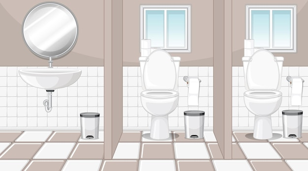 Toilette pubbliche con lavabo e specchio