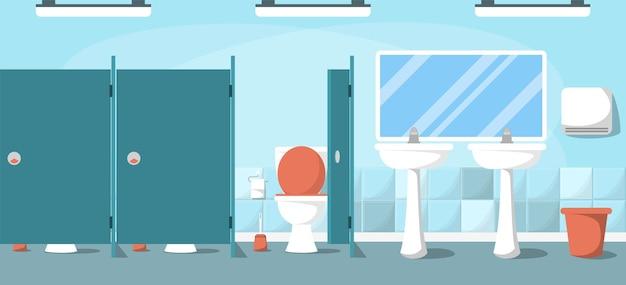 Bagno pubblico. interno di un locale sanitario vuoto pulito.
