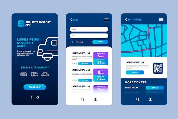 Interfaccia dell'app per il trasporto pubblico