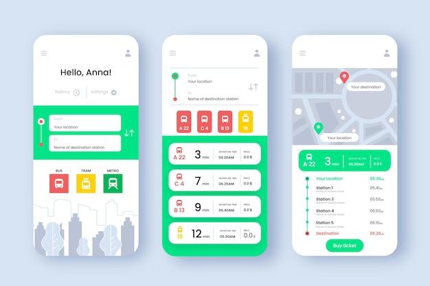 Modello di schermate di app per i trasporti pubblici