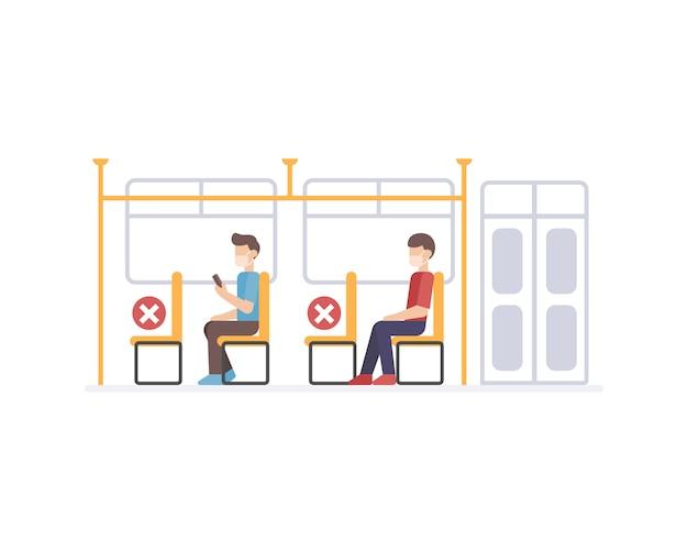 Trasporto pubblico che esegue protocolli di sicurezza sanitaria applicando la distanza sociale allo svuotamento di una sedia tra i passeggeri per prevenire la trasmissione del virus illsutration