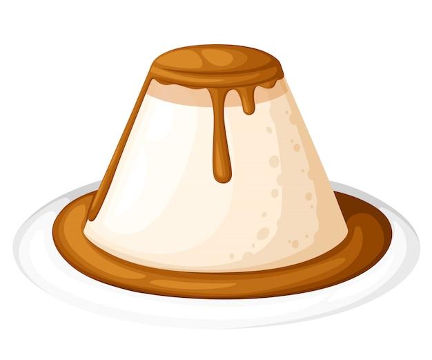 Budino o crema pasticcera con caramello nell'illustrazione del piatto,