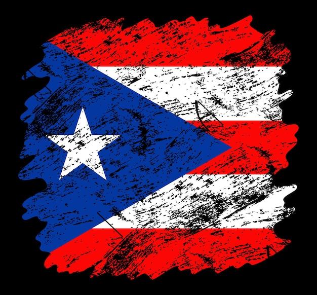 Fondo della spazzola di lerciume della bandiera di portorico. vecchia illustrazione vettoriale di bandiera pennello. concetto astratto di sfondo nazionale.