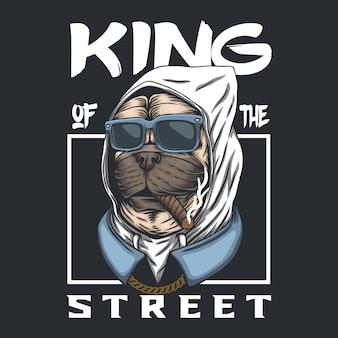 Pug dog re della strada