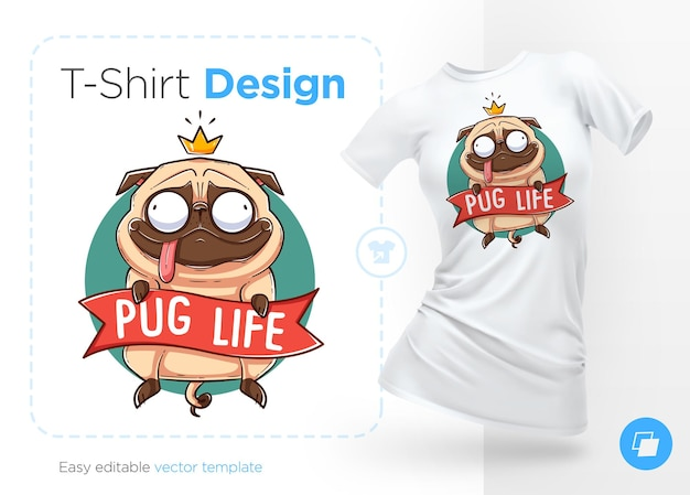 Illustrazione di vita del pug uft t-shirt design