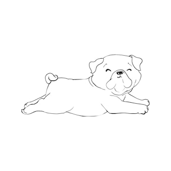 Illustrazione del disegno della mano di vettore del carlino in colore nero isolato su fondo bianco