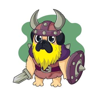 Cartone animato pug vichingo