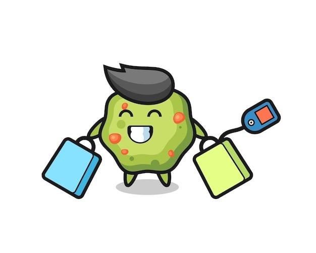 Cartone animato mascotte vomito con in mano una borsa della spesa, design in stile carino per maglietta, adesivo, elemento logo