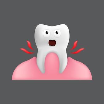 Estrarre un dente urlante dalla gomma. simpatico personaggio con espressione facciale. divertente per il design dei bambini. illustrazione realistica del modello in ceramica dentale isolato su sfondo grigio