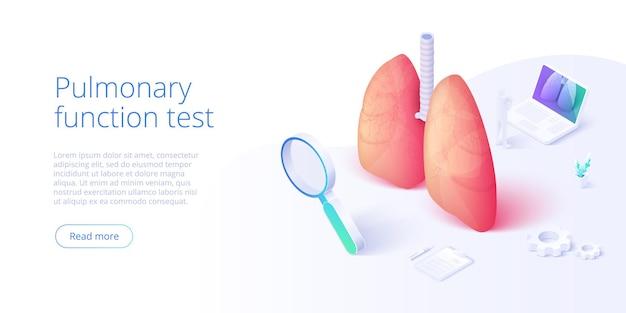 Illustrazione del test di funzionalità polmonare nel disegno vettoriale isometrico. immagine di tema di pneumologia con medico che analizza i polmoni sul monitor. diagnostica medica respiratoria. modello di layout banner web.
