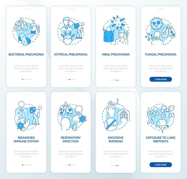 Set di schermate della pagina dell'app mobile a bordo dell'infiammazione polmonare