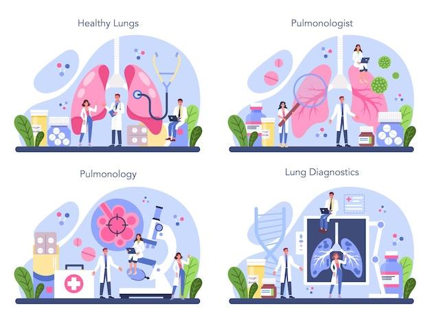 Set pneumologo. idea di salute e cure mediche.