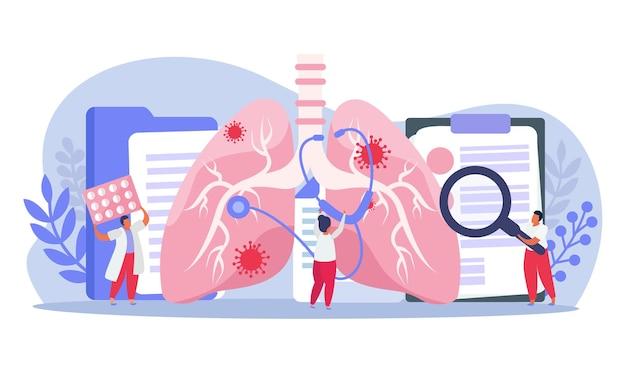 Pneumologi che fanno l'ispezione del polmone con l'illustrazione dello stetoscopio