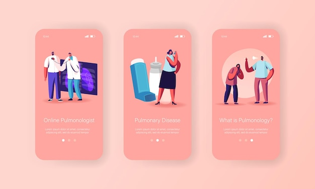 Modello di schermata a bordo della pagina dell'app mobile per la pneumologia, la malattia dell'asma