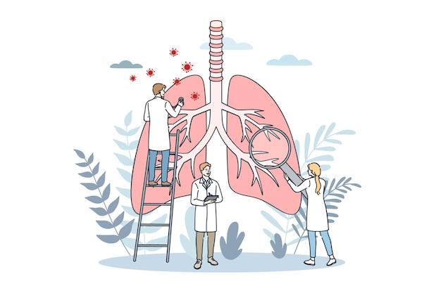 Illustrazione di concetto di assistenza sanitaria di pneumologia e polmoni