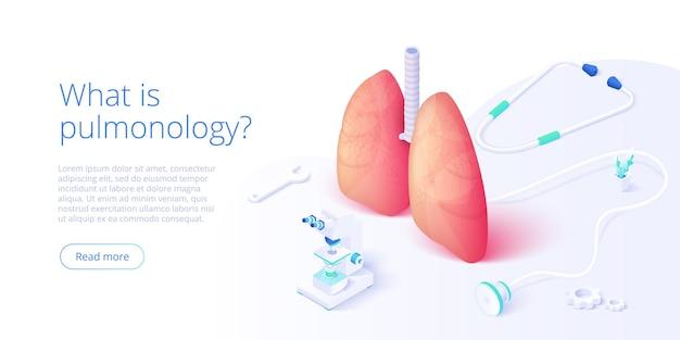 Immagine di tema di pneumologia con medico che analizza i polmoni sul monitor