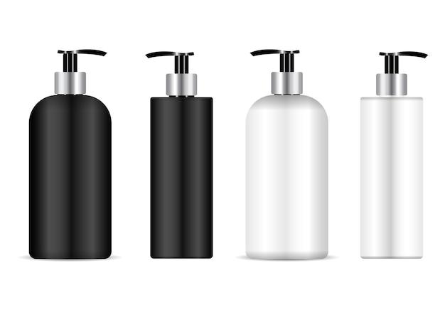 Flacone pompa. confezione di flaconi per cosmetici per shampoo, contenitore in plastica per lozioni. modello liquido antibatterico vuoto. crema idratante può modello. confezione in plastica per detergente