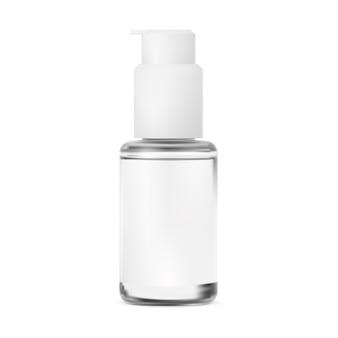 Flacone a pompa vaso di vetro per imballaggio di siero cosmetico dispenser di essenze isolato