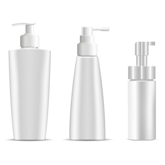 Flacone pompa. shampoo cosmetico o bottiglie di plastica di sapone.