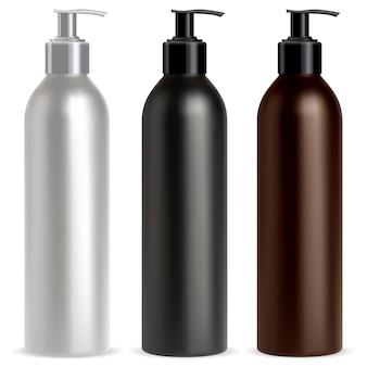 Mockup di shampoo cosmetico per dispenser di flaconi a pompa contenitore realistico per dispenser a pompa nero, bianco e marrone